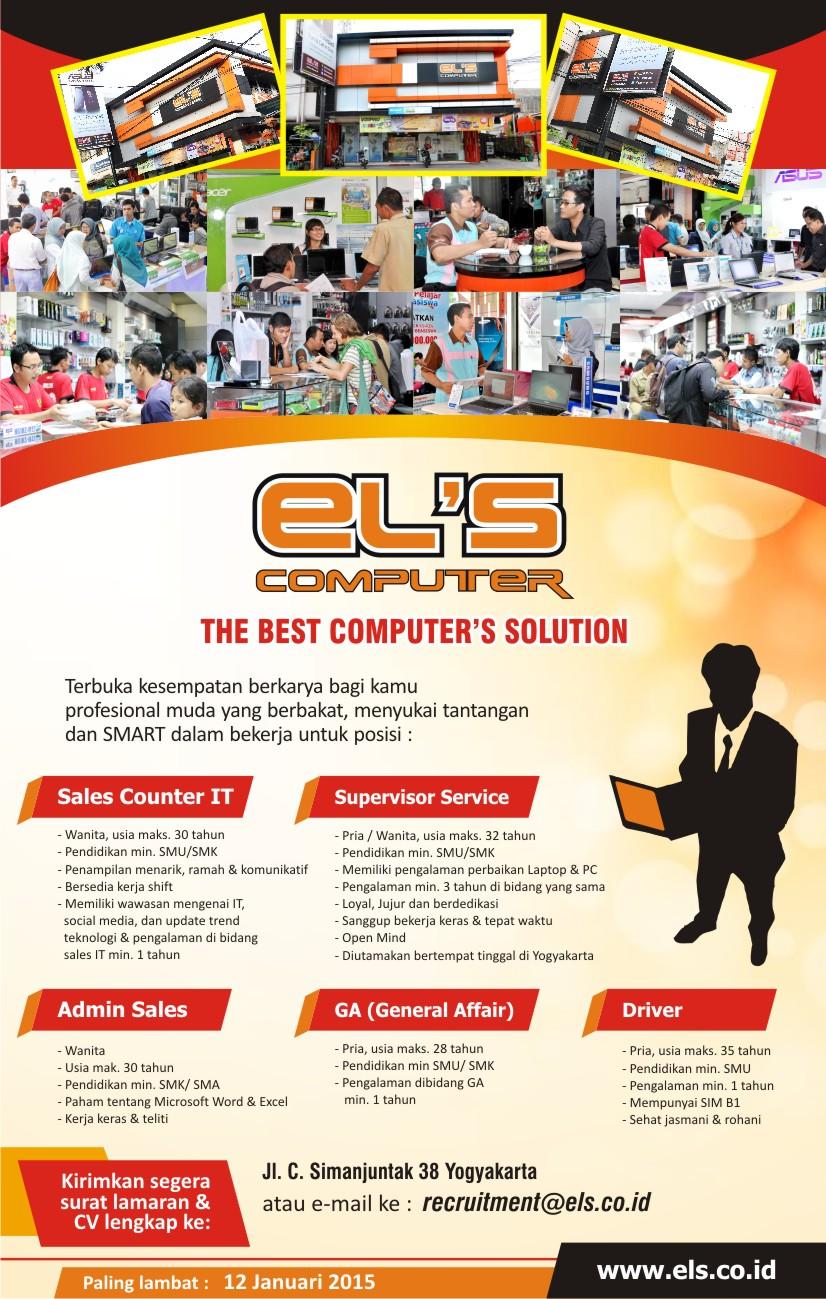 Lowongan Kerja ELS Computer Sampai 12 Januari 2015