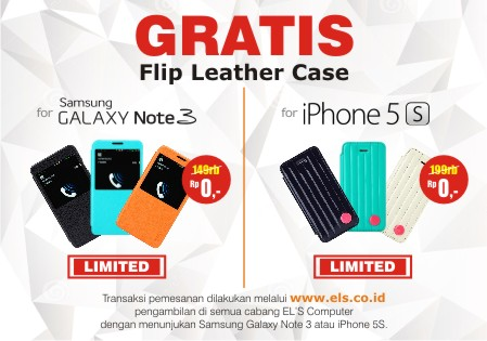 Promo : GRATIS Flip Case Galaxy Note 3 dan GRATIS Flip Case iPhone 5S