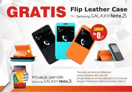 Promo : GRATIS Flip Leather Case Samsung Galaxy Note 3 DIPERPANJANG