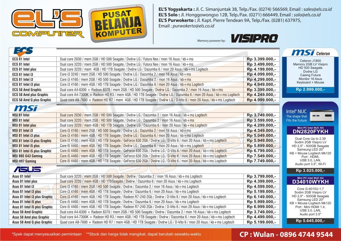 Spesifikasi Paket PC Rakitan ELS Computer Edisi Februari 2015