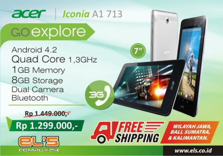 Beli Tablet Android Acer A1 713 Free Ongkir (Ongkos Kirim)* Duduk Santai Dirumah, Tunggu Tabletnya Datang !!