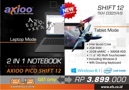 Eranya 2 in 1 Notebook + Tablet Win 8.1 Axioo Pico Shift 12 – TKH D325R
